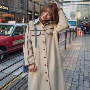 Spring Print Trench Coat Women Oversize Loose Casual Long Sleeve Slim Fit Patchwork Office Outwear Coat Rs13