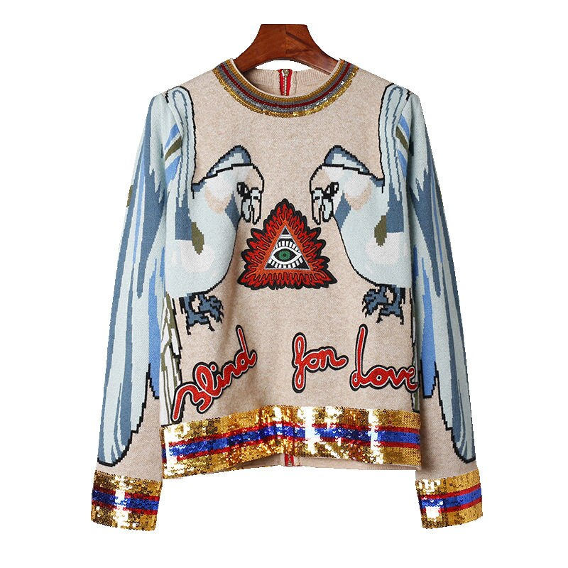 Spring Women Street Animal Bird Printing Sequins Sweater Cute Long Sleeve Zipper Knitting Pullover Embroidery Tops Pw11