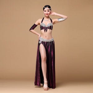 Stage Dance Wear Women Belly Dance Clothing 3Piece Set Bra Skirt Armbands Belly Dance Costume Set Professional