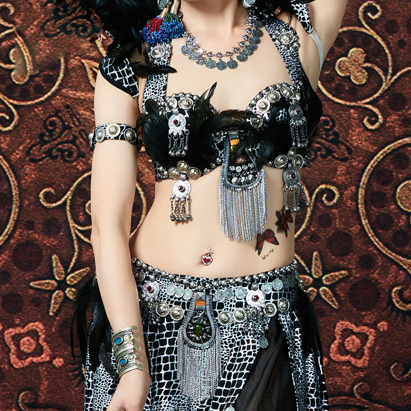 Stage Dancewear Top Grade Egyptian Belly Dancing Clothes Oriental Dance Costume Set Beaded Bra Belt With Rhinestone