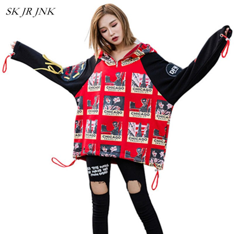 Stitching Print Cotton Sweatshirts Spring Autumn Women Hoodie Lady Long Sleeve Casual Loose Pullovers Lal12