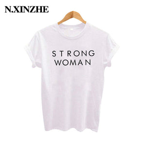 Strong Woman T Shirt Feminist Slogan TShirt Hipster Letters Printed Cotton Tshirt Black White Summer
