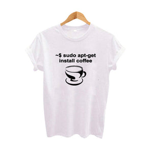 Sudo AptGet Install Program Coffee Graphic Tees Women T Shirt Tumblr Hipster Punk Tee Shirt Femme Black White