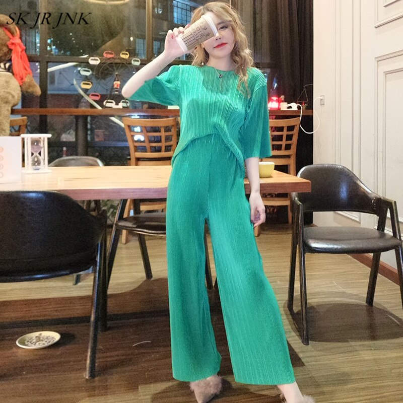 Summer 2 Piece Set WomenTShirt Tops+Wide Leg Pants Casual Trousers Sweatshirts Suit Lady Sweat Trousers Sr379