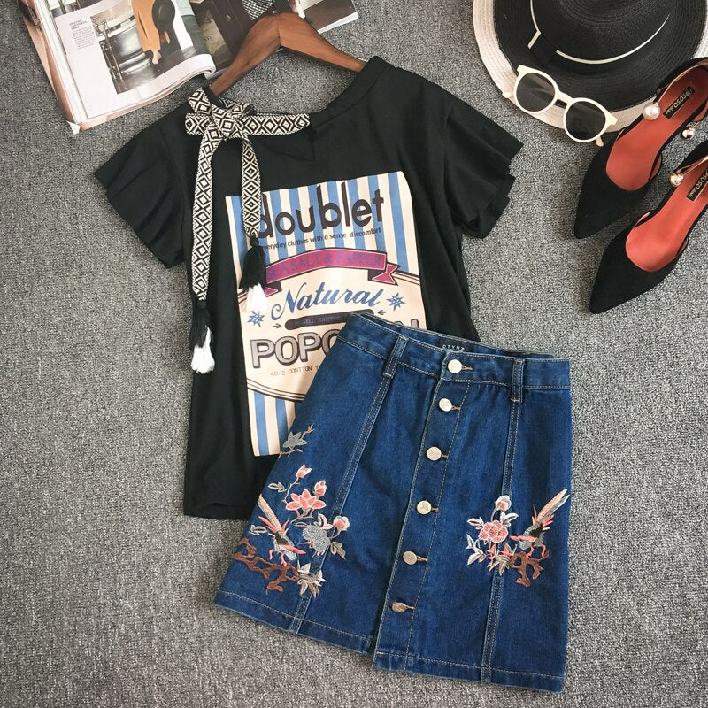 Summer 2 Piece Sets Women Jean Casual Chiffon Office Top Outfits Print Shirt Top Suit Bag Hip Embroidery Denim Skirt Sets Sr428
