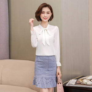Summer Chiffon Shirts Women Casual Plus Size Solid Short Office Silk Top Lady Long Sleeve Tops Blouses S363