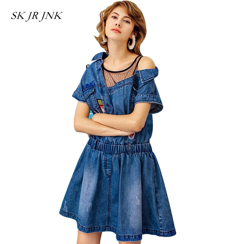 Summer Denim Dress Women Solid Loose Casual Print Hollow Jeans Lace Stitching Office Mini Dresses Rs98
