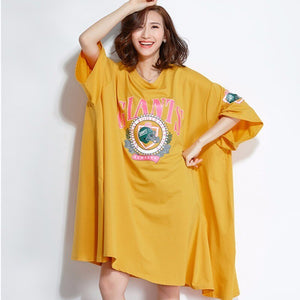 Summer Dress 4Xl 5Xl Women Lady Plus Size Dress Cotton Casual Letter Print Office Big Size TShirt Top Sr355