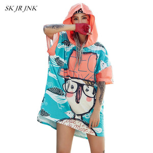 Summer TShirt Dress Hip Hop Women Spring Casual Irregular Hooded Cartoon Print Asymmetric Office Cotton Dress Rs147