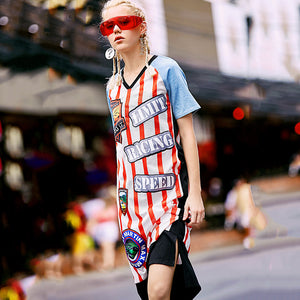Summer TShirt Dress Women Long Casual Loose Letter Cartoon Print Stripe Pullover Cotton Chiffon Stitching Office Dress Rs88