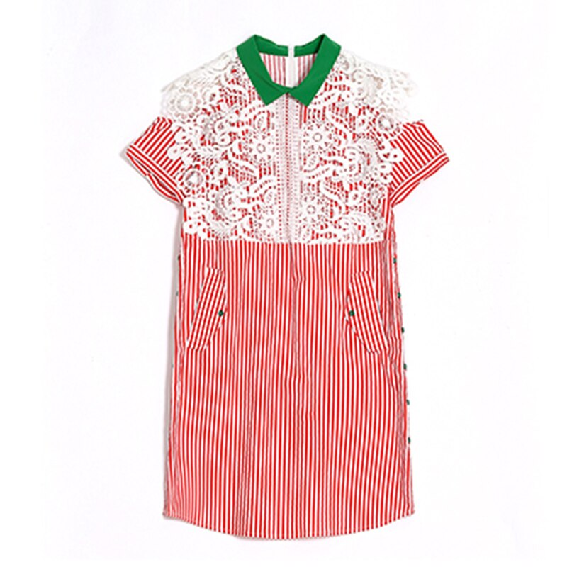 Summer TShirt Dress Women Office Lace Stripe Cotton Stitching Loose Casual Shirt Collar Dresses Rs97