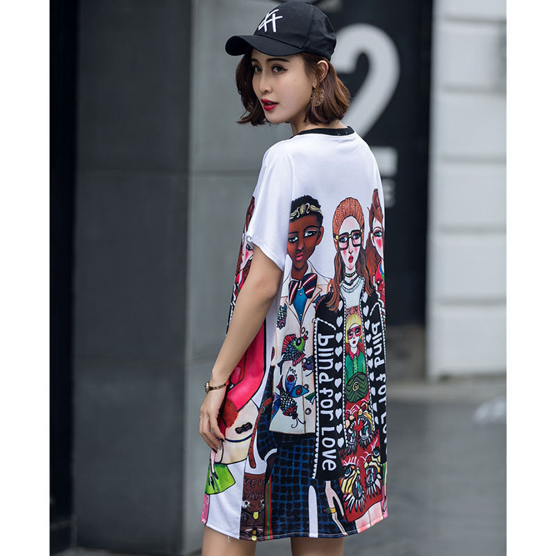 Summer TShirts Dresses Women Personal Loose Letters Cartoon Printed Casual Pullover Cotton Office Dress Rs50