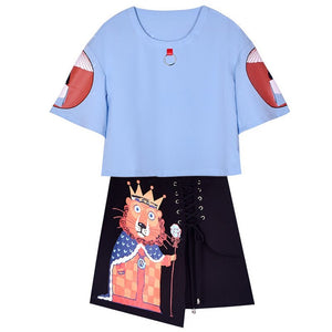 Summer Women 2 Piece Sets Tshirts + Skirts Ladies Casual Chiffon Print Tracksuits Suits Cotton Tops Pants Sr459