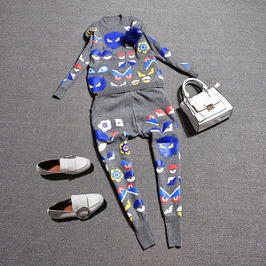 Summer Women'S Knitted Suits Casual Cartoon Print Feather Blousers TShirts Long Slim Trousers Pants 2 Piece Sets Sr327