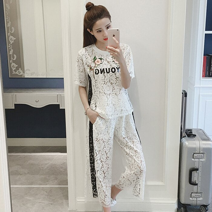 Summer Women'S Suits Casual Lace Embroidery Harajuku TShirt High Waist Wide Leg Patchwork Long Pants 2 Piece Sets Sr385