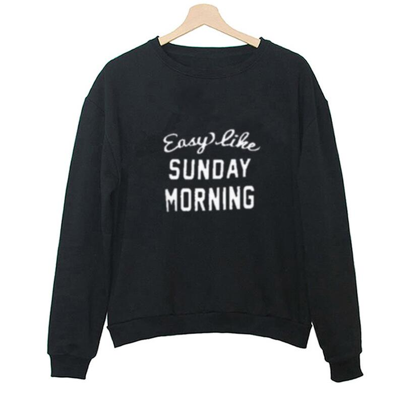 Sunday Morning Letters Printed Sweatshirt Black White Long Sleeve Hoodies Women Autumn Casual Tracksuit Sudaderas Mujer