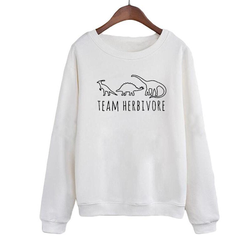 Team Herbivore Harajuku Vegan Slogan Women Sweatshirt Autumn Winter Print Hoodies Black White Graphic Pullovers