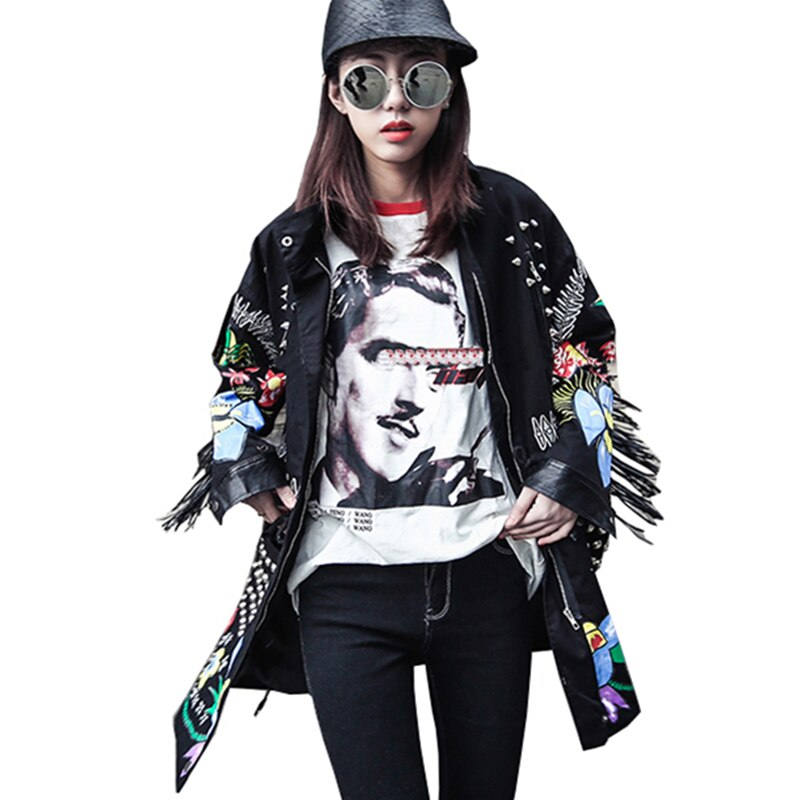 Trench Coat Spring Women Pocket Rivet Zipper Windbreaker Lady Tassel Patchwork Coat Printed Harajuku Outwear Wq156