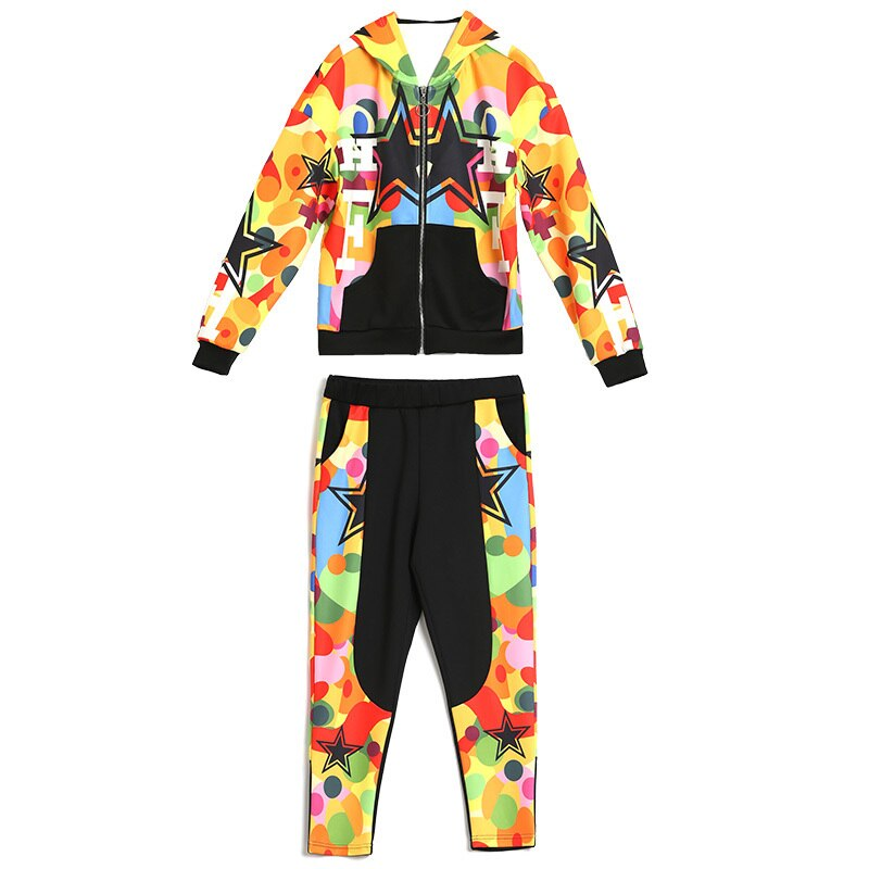 Two Piece Set Women Spring Tops Pants Hooded Print Jacket Polyester Stitching Pluas Size Casual Slim Suit Women Rs111