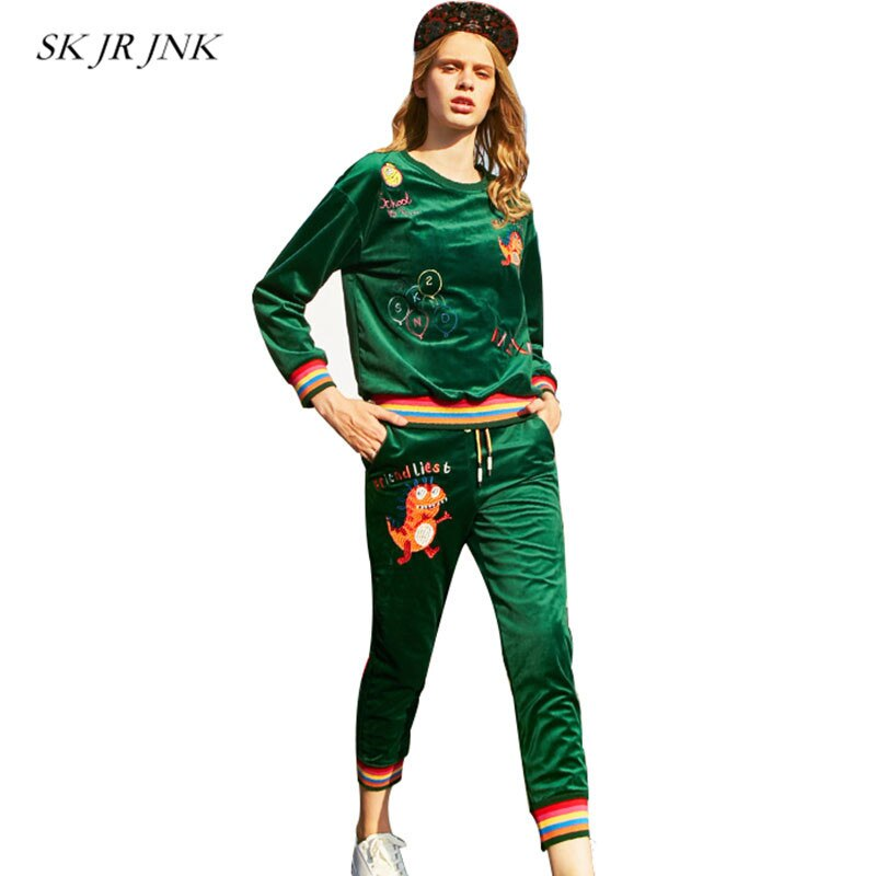 Two Piece Set Women Spring Tops Pants Spring Autumn Sweatsuits Velvet Suit Pullover Casual Slim Suit Women Rs110