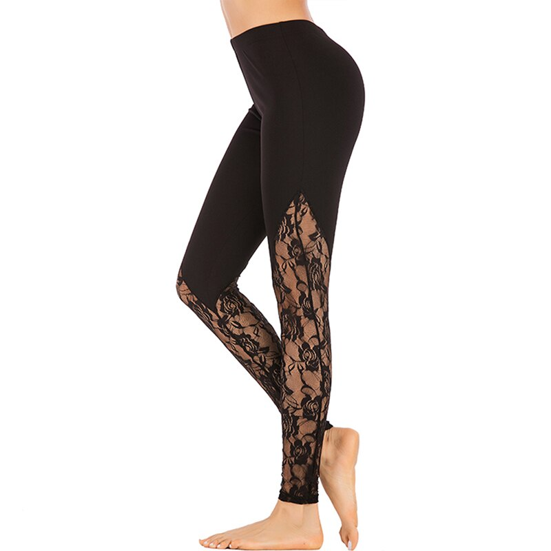 Women Lace Skinny Pants Yoga Sport Pants Leggings Trousers Gym Tights Running Leggings Workout Fitness