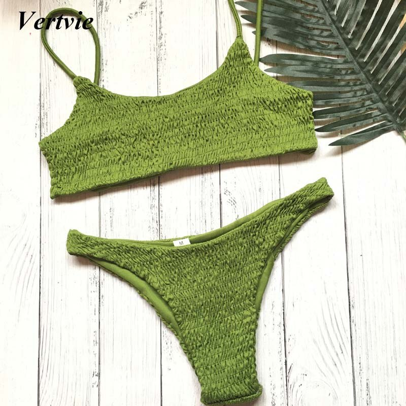 Brazilian Women'S Swimming Suits Folds Thong Bathing Suit Summer Strap Bikini Sets Beach Swimsuit
