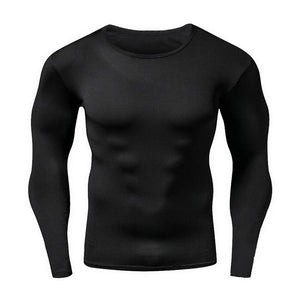 Men Running TShirts Sport Compression LongSleeved ONeck Tight Shirt Fitness Workout Tops Quick Drying Shirts
