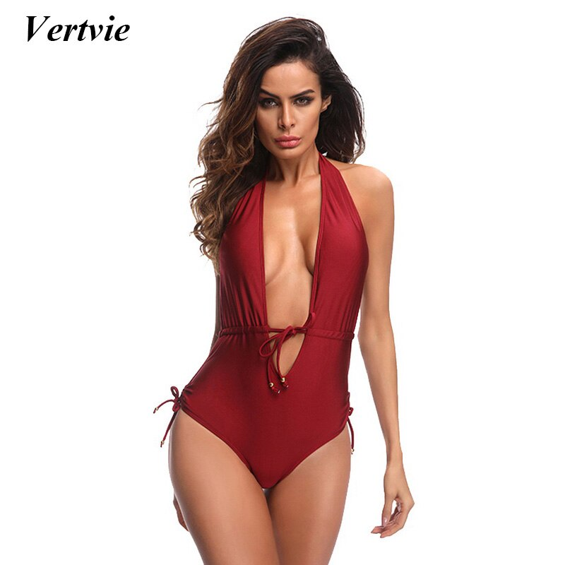 Solid One Piece Suit Women Deep V Swimsuit Bandage Push Up Bikini Summer Beach Swimwear Backless Biquini