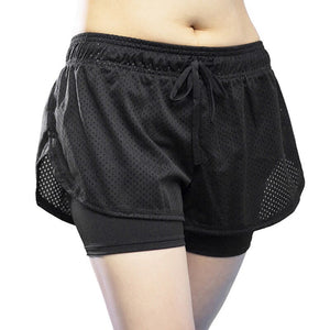 Women Running Shorts Breathable Workout Short Women'S Mesh Fitness Wide Leg Quick Dry Shorts Fake Two Pieces