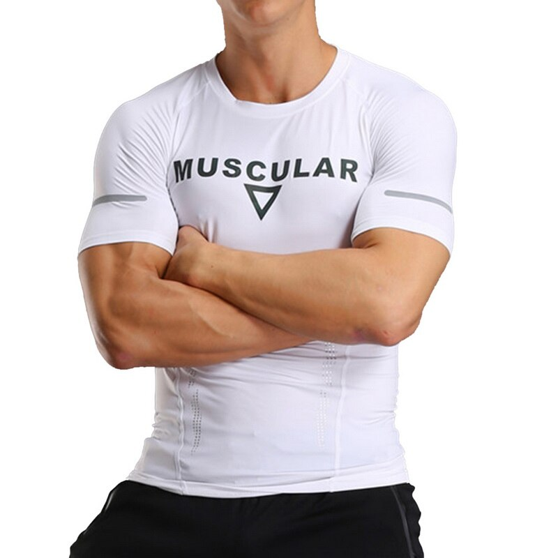 Compression TShirts Men Short Sleeve Running TShirts Summer Printed Fitness Quick Dry Bodybuilding Top