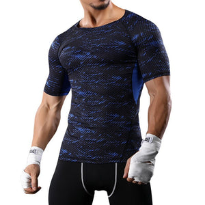 Summer Quick Dry Running TShirts Men Printed Camouflage Sport Tee Shirts Fitness Compression Slim Top Elastic Tee