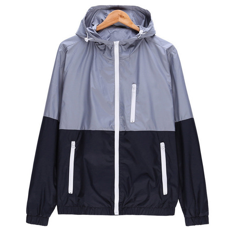 Hiking Jackets Man'S Stitching Windbreaker Jacket Hooded ZipUp Jackets Thin Coats Outwear Men Spring Autumn