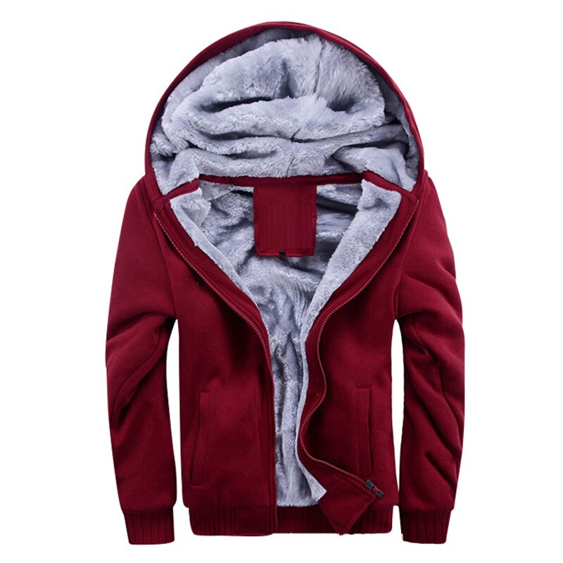 Men Hooded Running Jackets Plus Velvet Thick Warm Male Jackets Coats Solid Outwear Casual Jacket Mens Winter Jacket