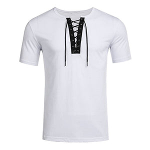 Men Running Shirts Solid TShirts Men Bandage Summer Beach Tee Shirts Male Quick Dry Fitness Slim Tee Tops