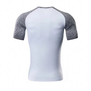 Men High Elastic Running TShirts ONeck Short Sleeve Multi Color Patchwork Breathable Bodybuilding TShirts Fitness