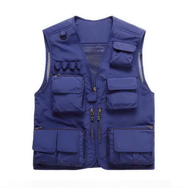 Outdoor Sport Fishing Life Vest Men Plus Size Swimming Fishing Jacket Waistcoat Mesh Top Backpack Multi Pocket Vest