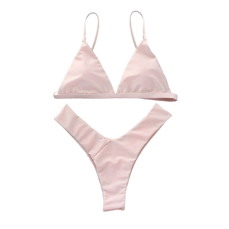 Pink Swimming Suits Cross Bandage Bikini Sets Thong Bottom Bathing Swimwear Push Up Brazilian Biqini