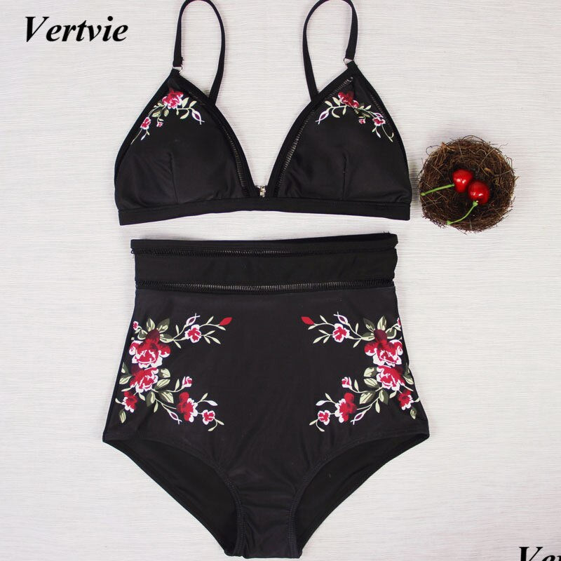 Retro Printed Bathing Suits Women Push Up Bar With Pad Swim Suits High Waist Thong Bikini Sets Beach Swimwear