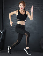 Mesh Patchwork Sport Leggings Women Yoga Pants Outdoor Fitness Running Gym Tights High Waist Jogger Yoga Pants