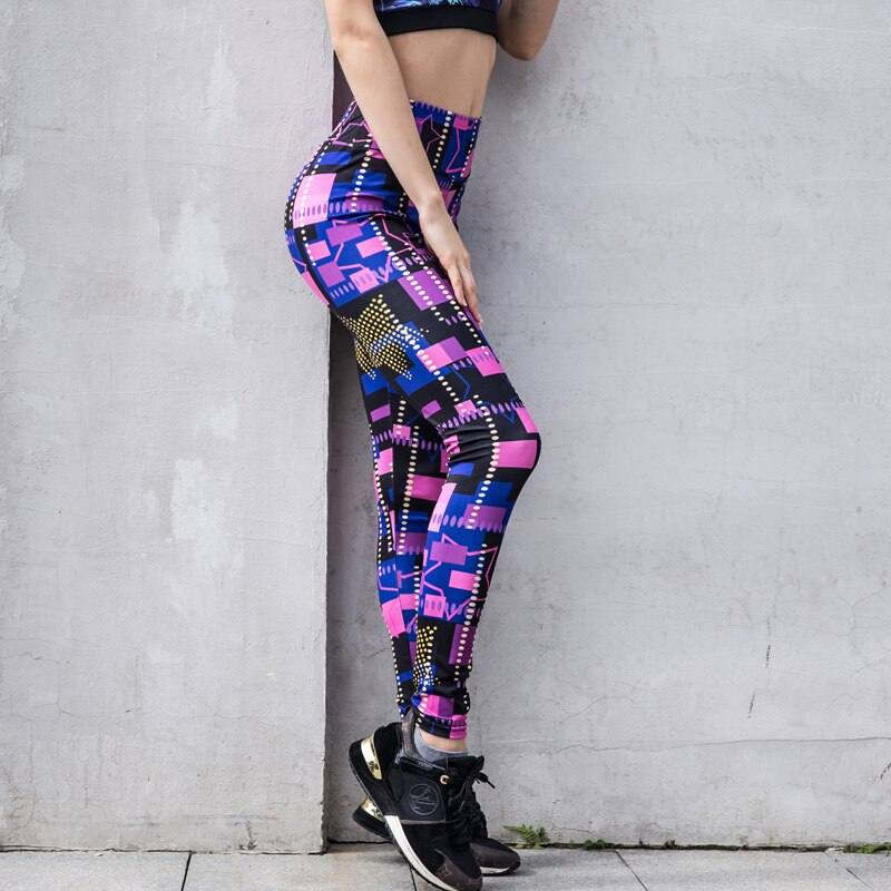 Leggings Slim Printed High Waist Yoga Pants Tummy Control Workout Running Stretch Leggings Fitness
