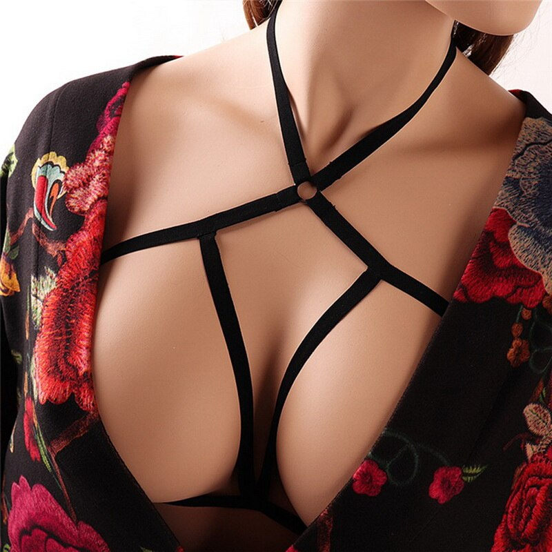 Solid Black Elastic Yoga Bra Women Hollow Out Bandage Sport Bra Push Up Seamless Fitness Bra
