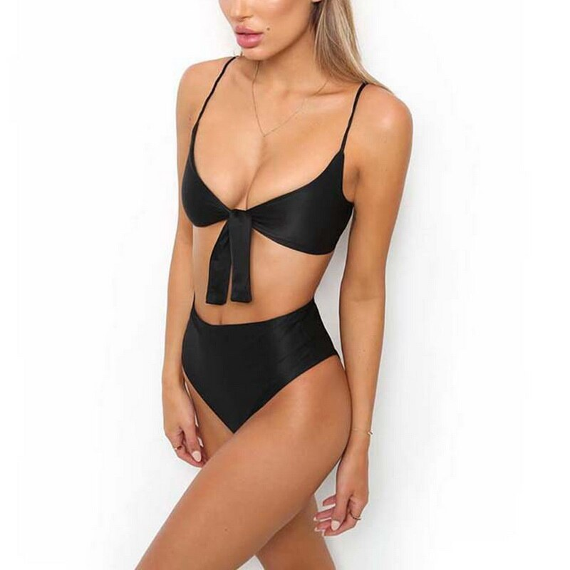 Solid Women Bikinis Set High Waist Brazilian Tankinis Summer Swimming Swimwear Bathing Suits Strap Swimsuits