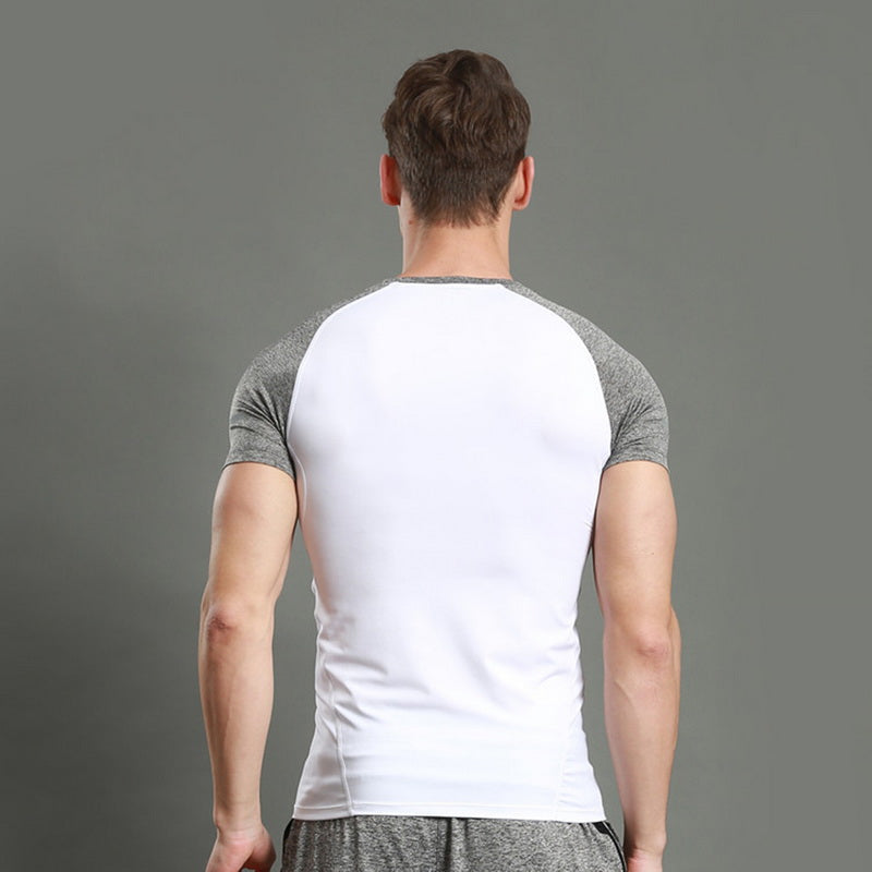 Summer Quick Dry TShirts Men Patchwork Skinny Fitness Compression Top Elastic Running Trainning Tee Tops Soccer Jerseys