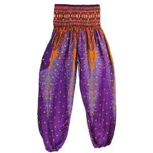 Summer Women High Waist Loose Cotton Yoga Pants Sports Multi Color Patchwork Peacock Feather Breathable Pockets Trousers