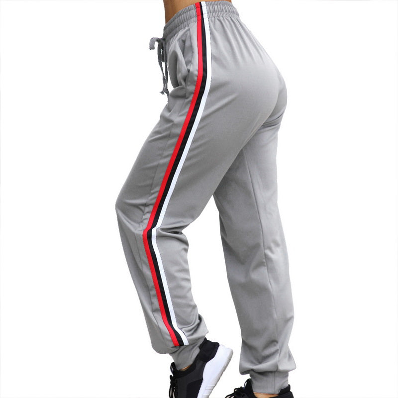 Woman'S Running Pants Side Striped Yoga Running Leggings Slim High Waist Sweatpants Sport Trousers Running Leggings