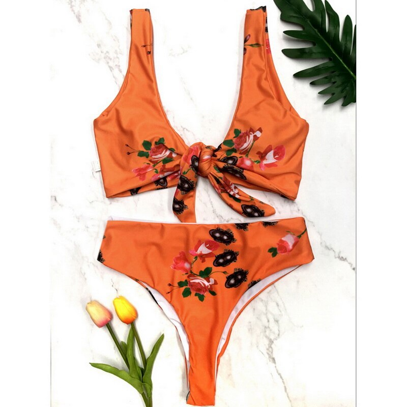 Women Bikinis Set Tankinis Floral Printed Swimsuits High Waist Bowknot Push Up Swimsets Summer Bathing Biquinis