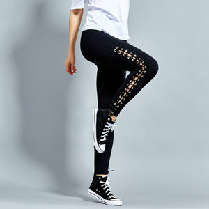 Women Fitness Yoga Pants Push Up Quick Drying Sports Pant Women'S SlimFit Eyelet Straps Running Sports Pants