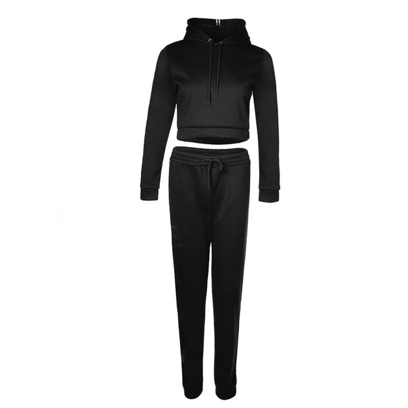 Women Running Sets Sports Suit Hooded Striped Sweater Solid Color LongSleeved Trousers Casual Sportswear Fitness Suit