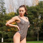 Women Brazilian Bikini Leopard Printed Swimsuit One Piece Backless Swimwear Push Up Bathing Suit Monokini Biquini