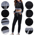 Women'S OffTheShoulder Sweater Boat Neck With Long Sleeves Sports Suits Hooded Sports Set Long Sleeve Sweatshirts